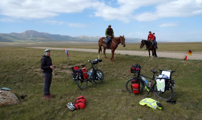 A coffee break and curious herders