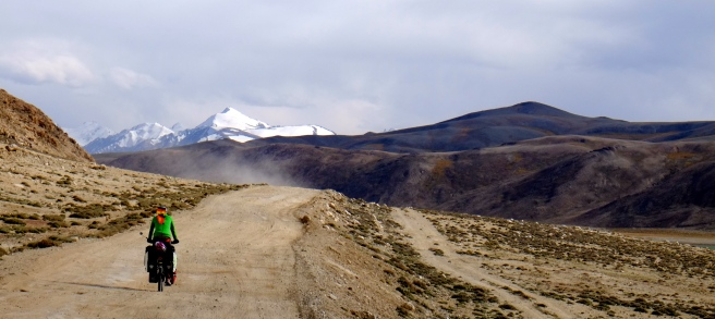 At the top of the second pass - the snow-capped mountain belongs to the Afghan Hindukush
