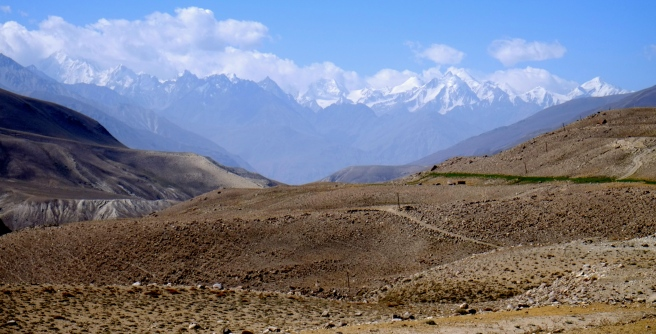 Rolling landscape with a Hindukush backdrop