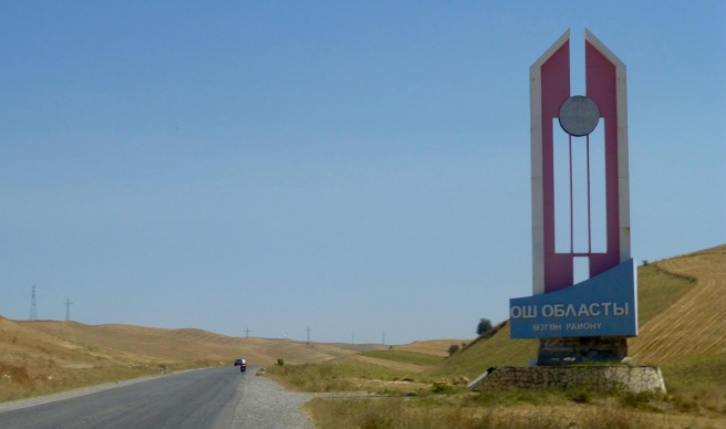 Entering the province of Osh with 'beautiful' Soviet architecture