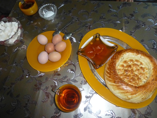 Typical breakfast: eggs, bread and self-made jam served with black tea and sometimes coffee
