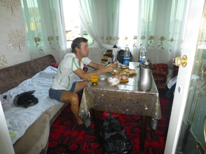 Our room at a hotel which took us an hour to find as they don't put up signs in Kyrgyzstan