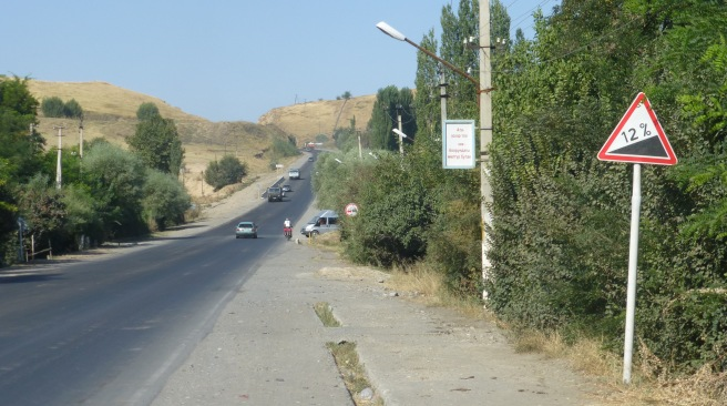 In Kyrgyzstan all signs indicating the gradients of hills are at 12%