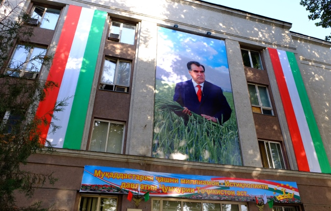 Tajikistan's president - smiling at us from millions of billboards