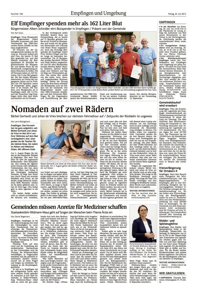 20150724_Schwarzwälder Bote_Empfingen_Radtour