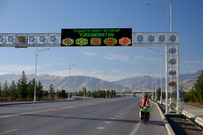 Finally leaving the capital. The sign indicates the five Turkmen provinces