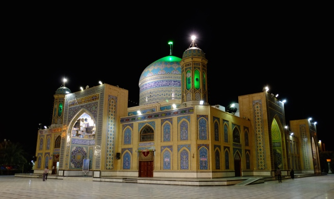 And the mosque at night