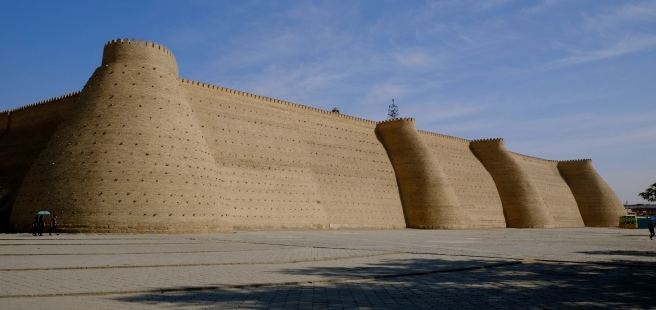 The massive walls of the Bukhara fortress Ark