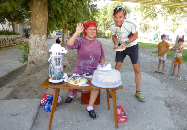 This lady is selling home-made cakes and Nescafe - a cyclist's heaven!