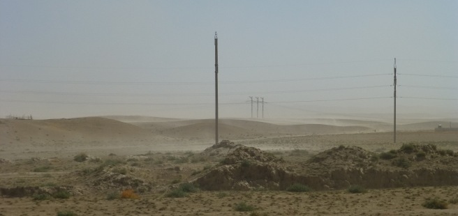 A sand storm thankfully not affecting us - the wind was this time in our back and blew us to