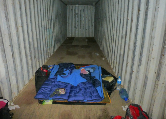 Making ourselves a bed even at the weirdest places - this time the empty inside of a truck