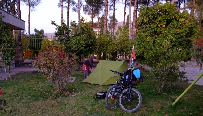 Our campsite at the hotel garden