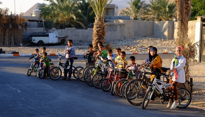 Just some of the kids joining our little bike tour