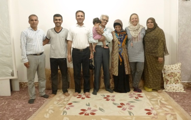 Mehran's family. Mehran is the second from the lefthand his father is carrying his baby with me standing between Maria and Mehran's mother