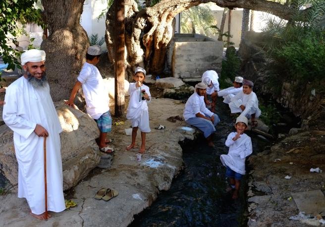 At a Falaj, the water has a temperature of 40 degrees Celsius