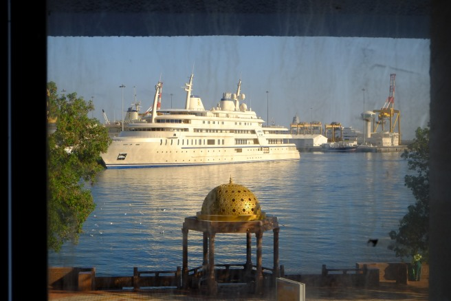 A room with a view - this is Sheik Quaboos' private yacht