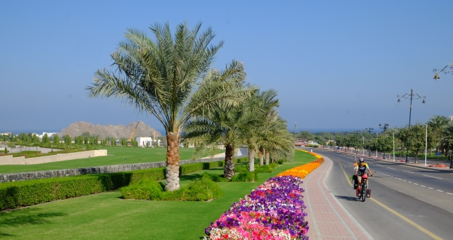 Leaving Muscat, a gardener's heaven as all highways are lined by colourful flowerbeds