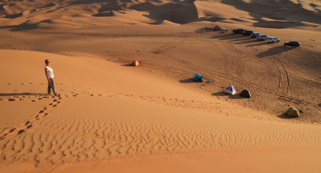 Our camp seen from the top of a dune