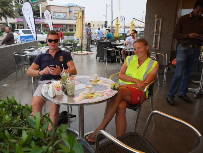Last lunch at the Bikers Café with Stéphane on 'Rare disease day' where I got a new high-vis jacket